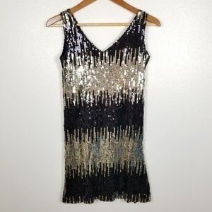 By Deep Los Angeles Sequin Dress Black Gold Stripe